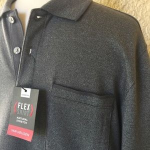 Van Heusen Flex Shirt Natural Stretch Gray Small